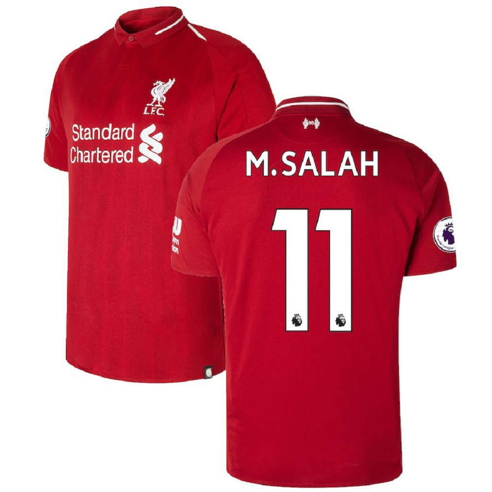 Majestic Athletic Mohamed Salah #11 Liverpool Men's 201819 Red Home Jersey
