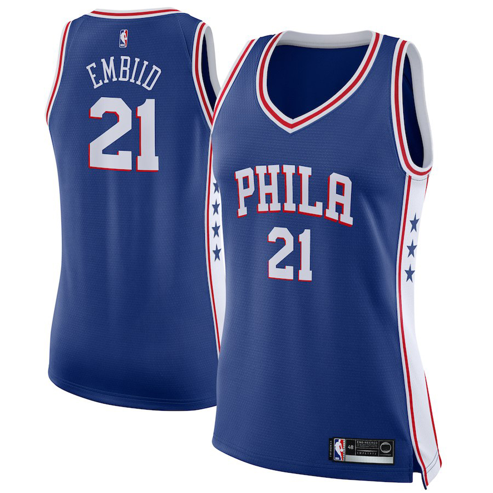 Majestic Athletic Joel Embiid #21 Philadelphia 76ers Women's Swingman Jersey Royal