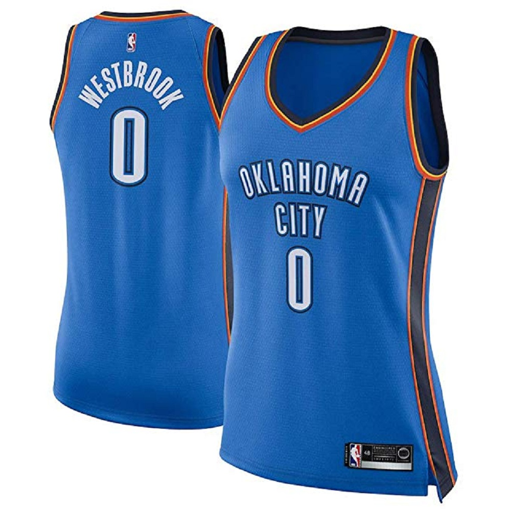 Majestic Athletic Oklahoma City Thunder Russell Westbrook #0 Blue Women's Swingman Jersey