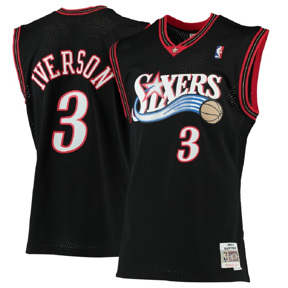 Majestic Athletic Allen Iverson Philadelphia 76ers #3 2000-01 Hardwood Classics Men's Black Swingman Jersey