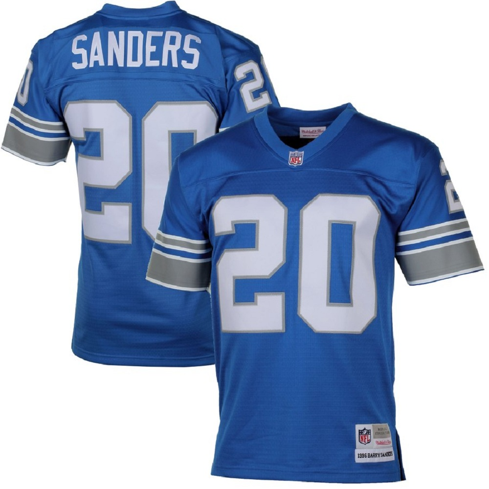 Majestic Athletic Detroit Lions #20 Barry Sanders Blue Men's Retired Player Vintage Jersey
