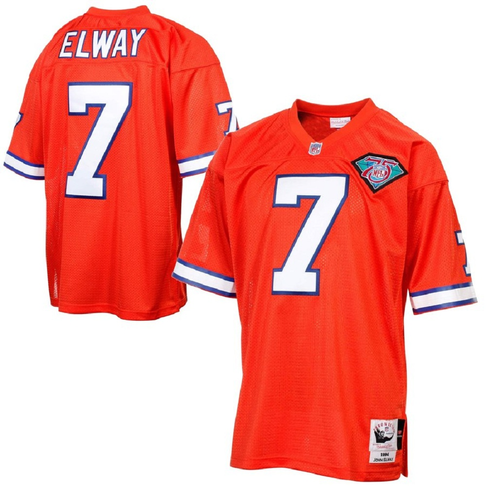 Majestic Athletic John Elway Denver Broncos #7 Silver Anniversary Throwback Orange Jersey