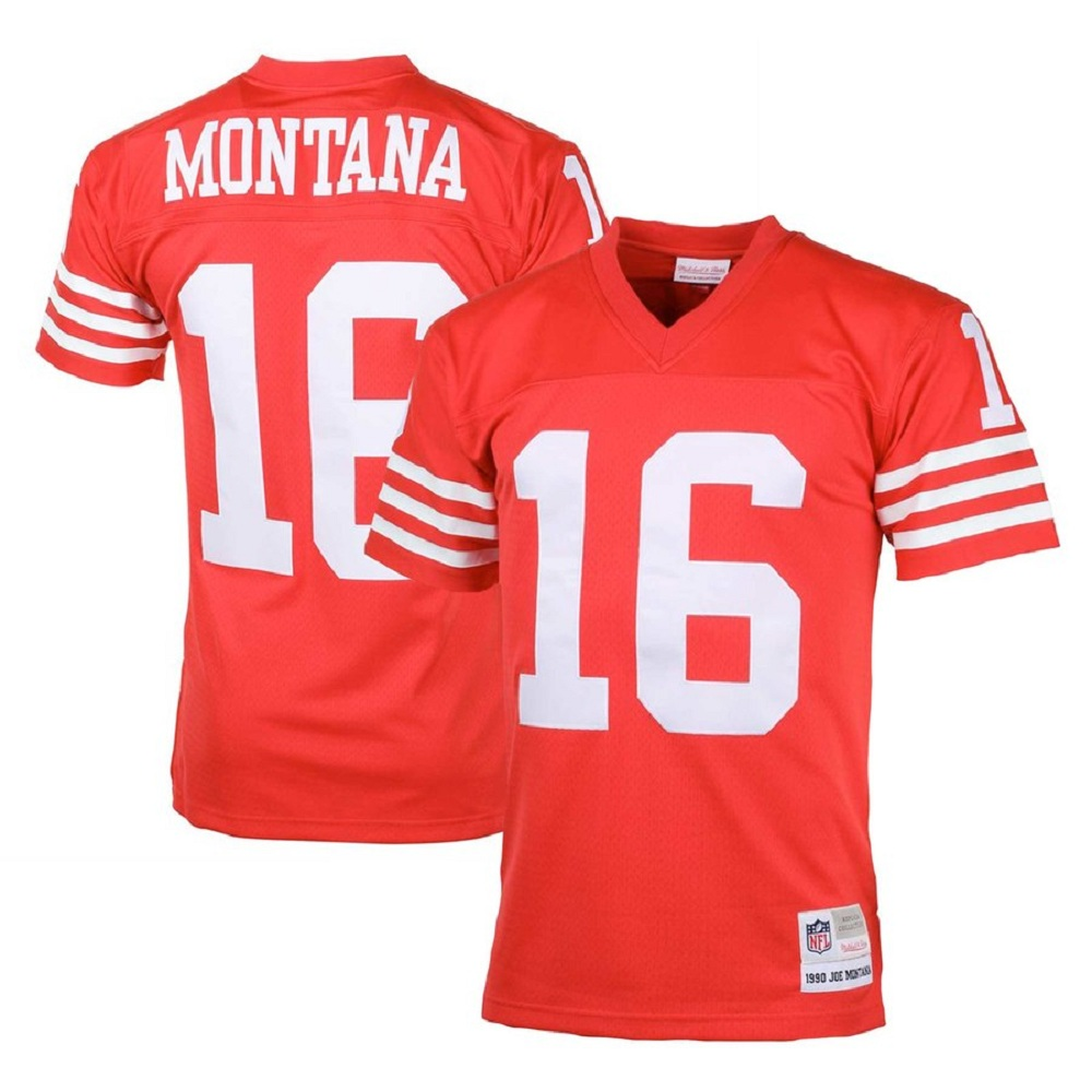 Majestic Athletic San Francisco 49ers Joe Montana #16 Scarlet 1990 Men's Retired Player Jersey