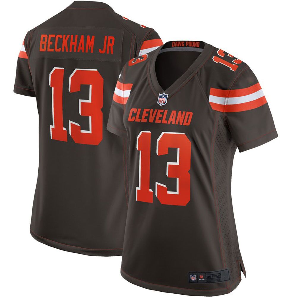 Majestic Athleticc Odell Beckham Jr Women's Cleveland Browns 13# Limited Stitch Jersey