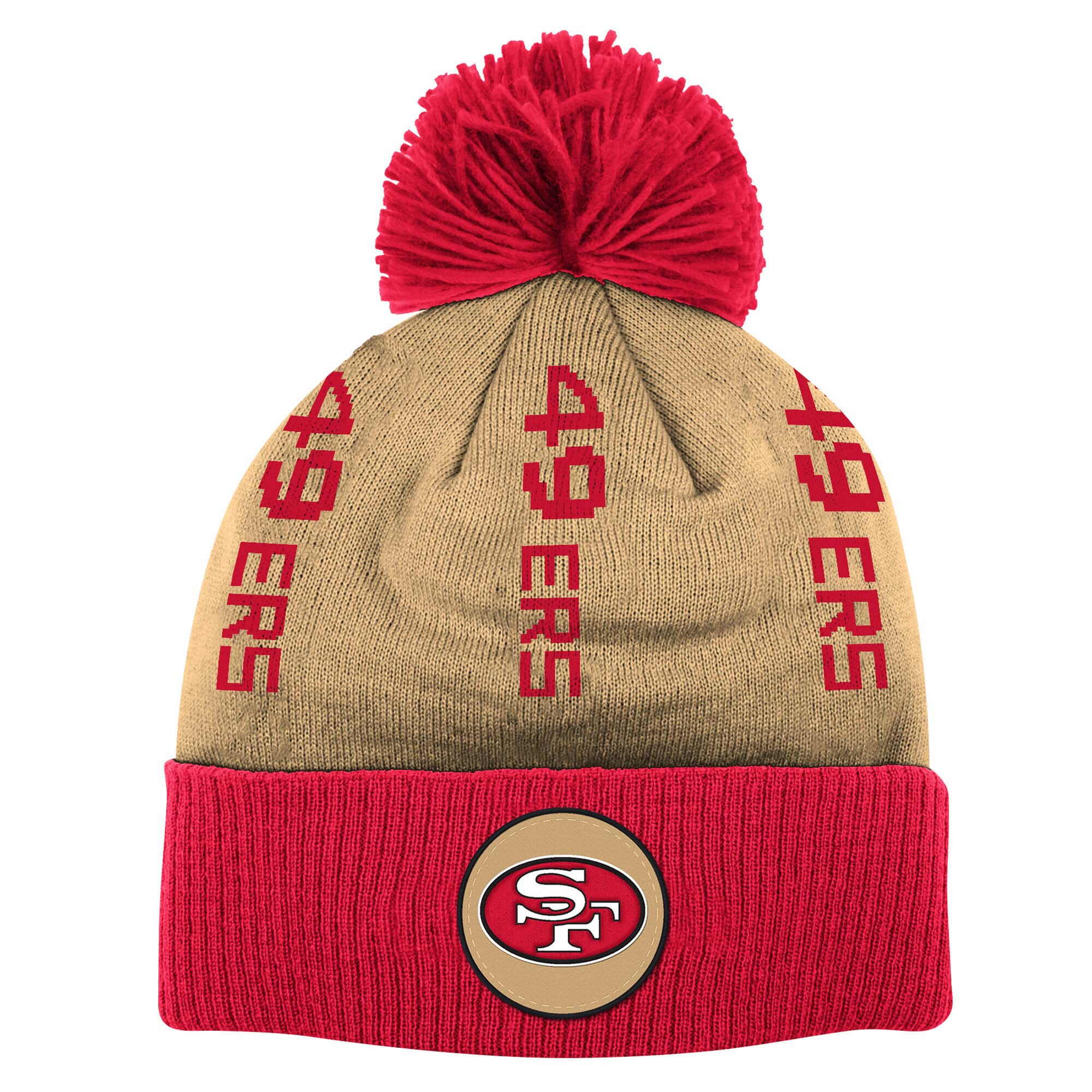 Vertical Wordmark Cuff Pom Knit San Francisco 49ers 1964
