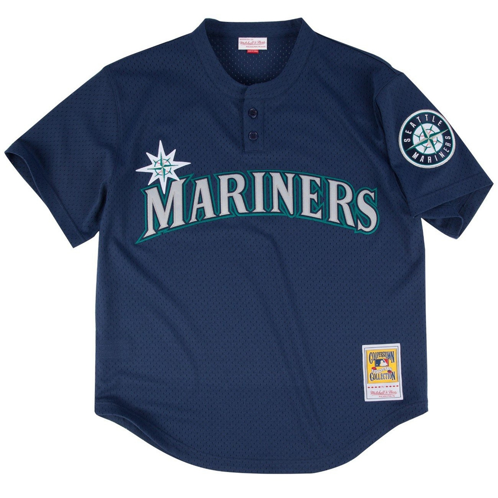 Mitchell & Ness Ken Griffey Jr. Blue Seattle Mariners Authentic Mesh Batting Practice Jersey