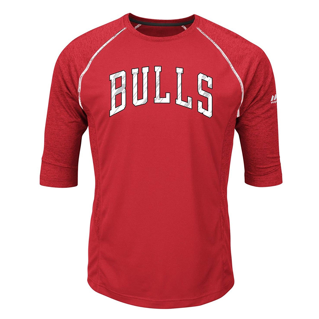 VF LSG NBA Chicago Bulls Men's Excite A 3/4 Sleeve Crew-Neck Tee, XX-Large, Athletic Red/Athletic Red Heather Mesh/Black/White