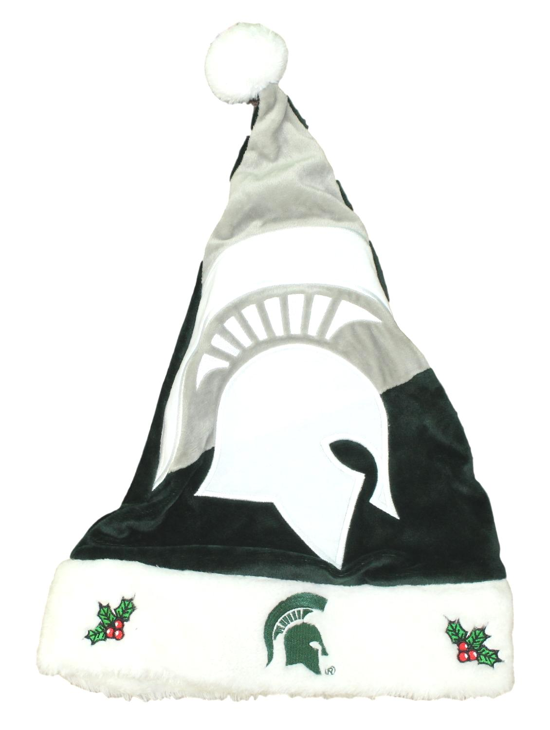 Michigan State Spartans 2018 NCAA Basic Logo Plush Christmas Santa Hat