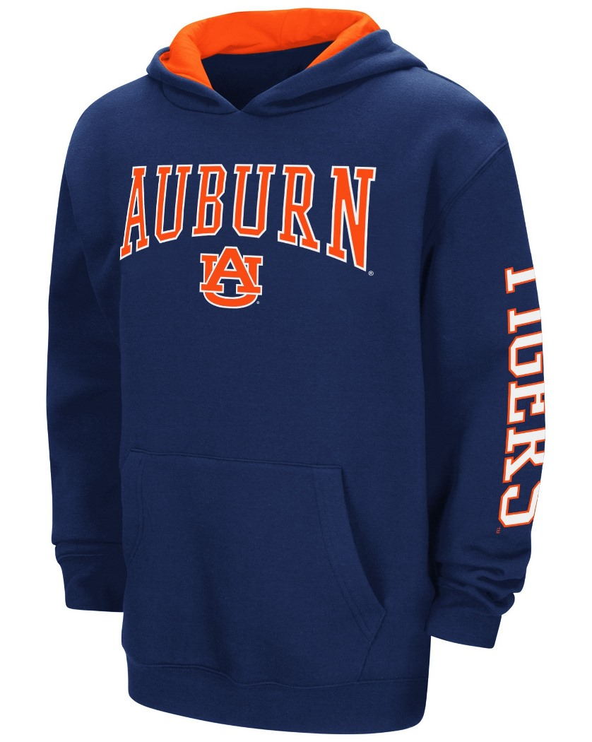 "Auburn Tigers NCAA ""End Zone"" Pullover Hooded Youth Sweatshirt - Navy"