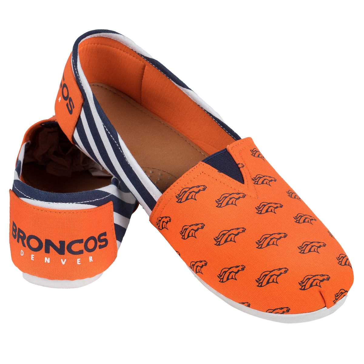 Denver Broncos Women's NFL Slip On Canvas Stripe Shoe Slippers