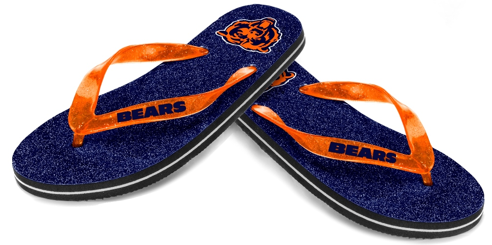 Chicago Bears Women's NFL Thong Flip Flop Glitter Slippers