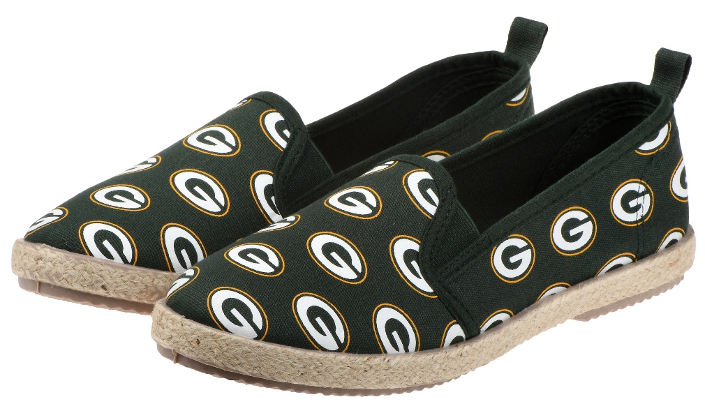 "Green Bay Packers Women's NFL ""Espadrille"" Slip On Canvas Shoe Slippers"