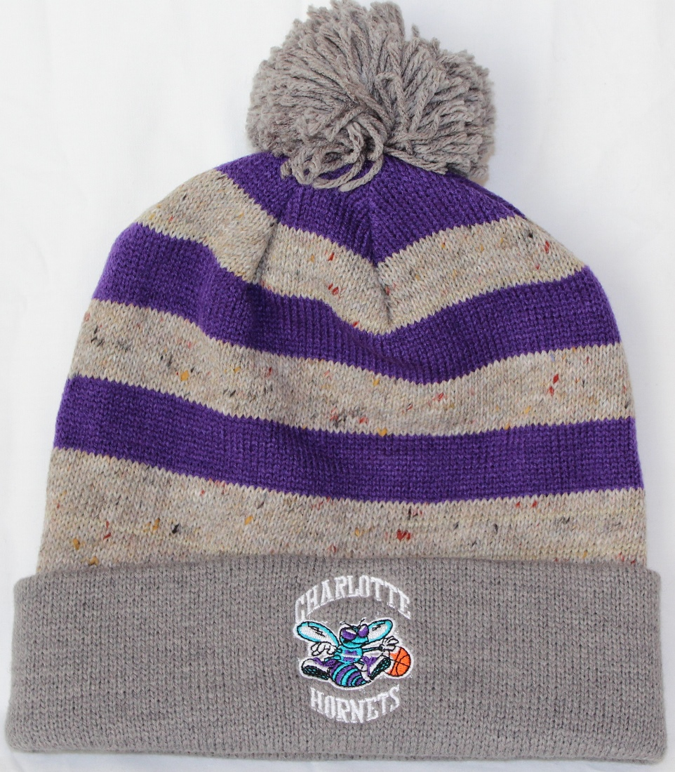 "Charlotte Hornets Mitchell /& Ness NBA /""Thematic/"" Cuffed Pom Knit Hat"