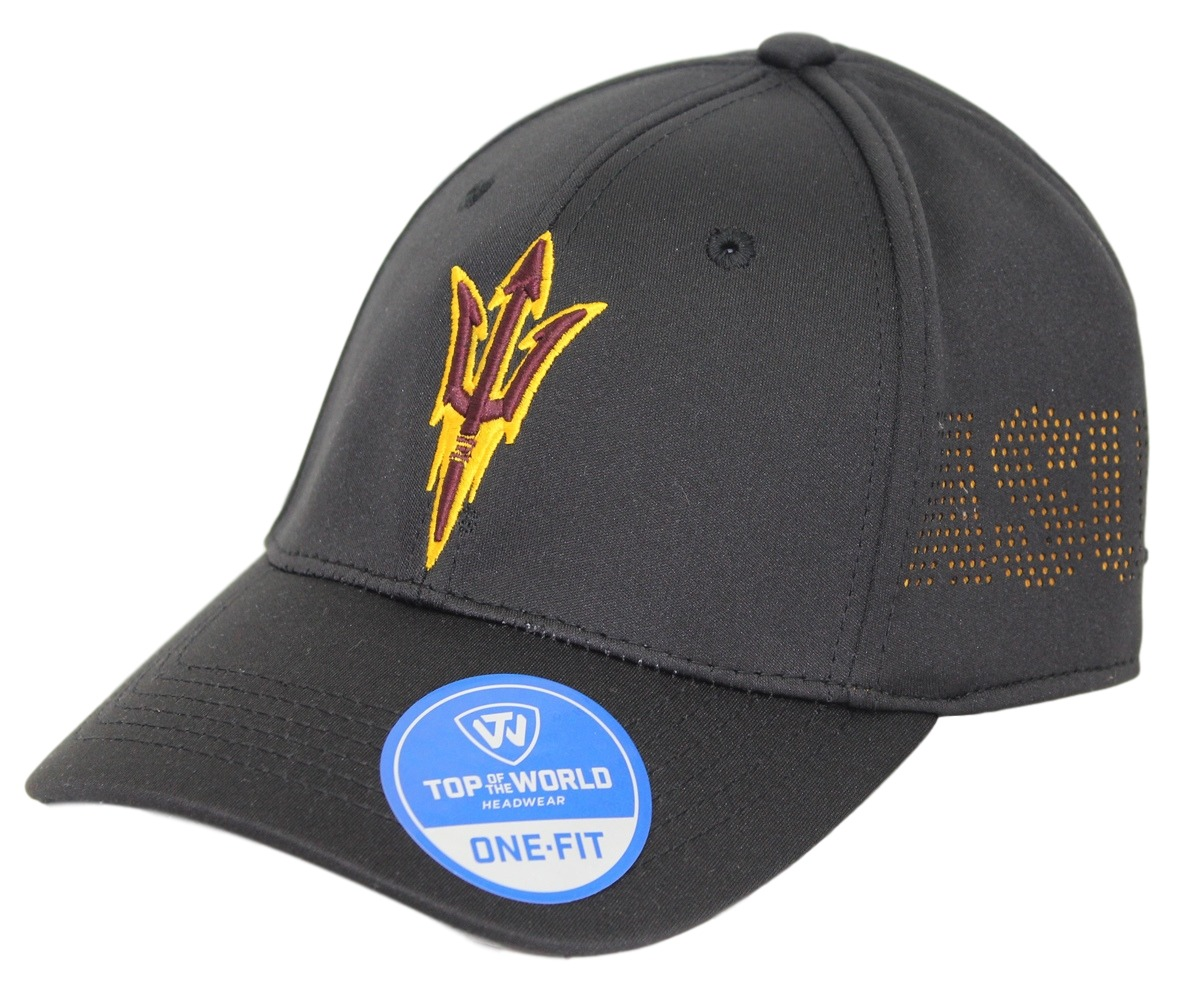 "Arizona State Sun Devils NCAA TOW ""Rails Black"" Stretch Fit Performance Mesh Hat"