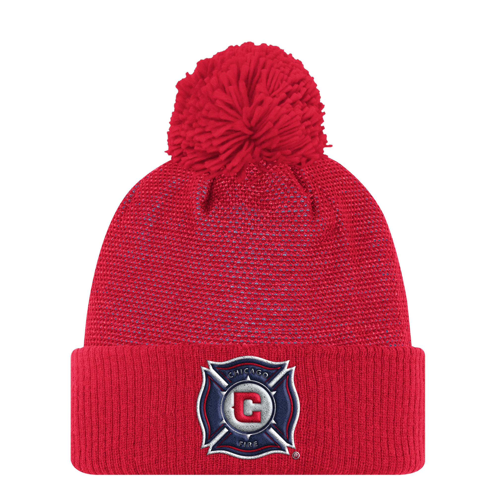 Chicago Fire Adidas MLS 2017 Authentic Cuffed Knit Hat with Pom
