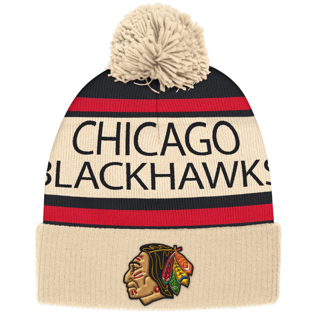"Chicago Blackhawks CCM NHL ""Heritage"" Cuffed Knit Hat with Pom"