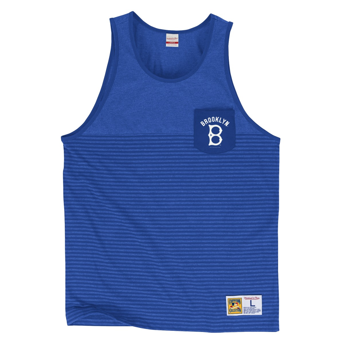 Brooklyn Dodgers Mitchell & Ness MLB Tonal Stripe Dual Blend Tank Top Shirt