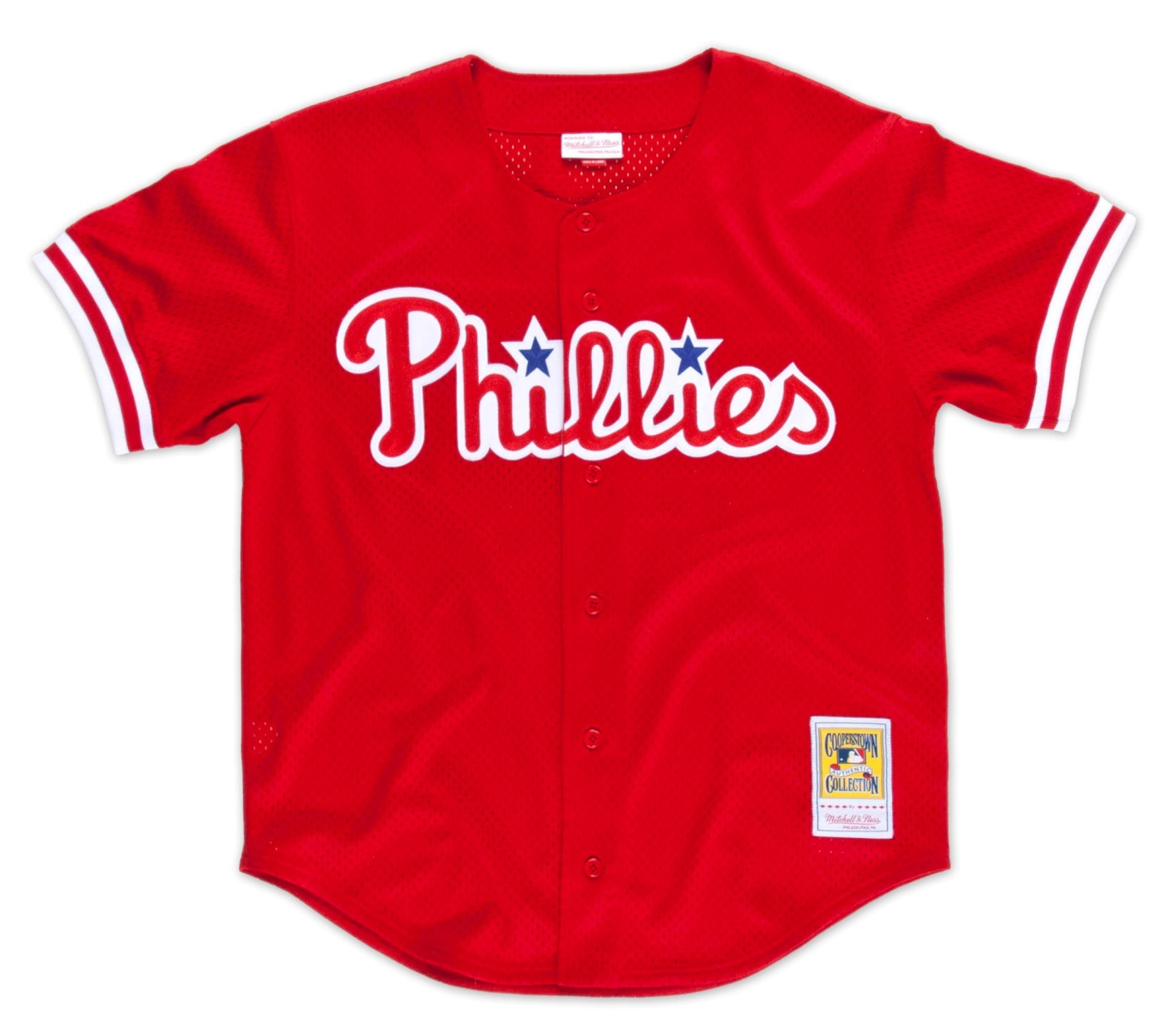 John Kruk Philadelphia Phillies Mitchell & Ness Authentic Button 1993 BP Jersey