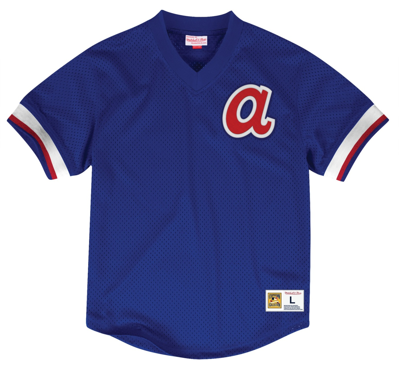 "Atlanta Braves Mitchell & Ness MLB Men's ""Team Win"" Mesh Jersey Shirt"