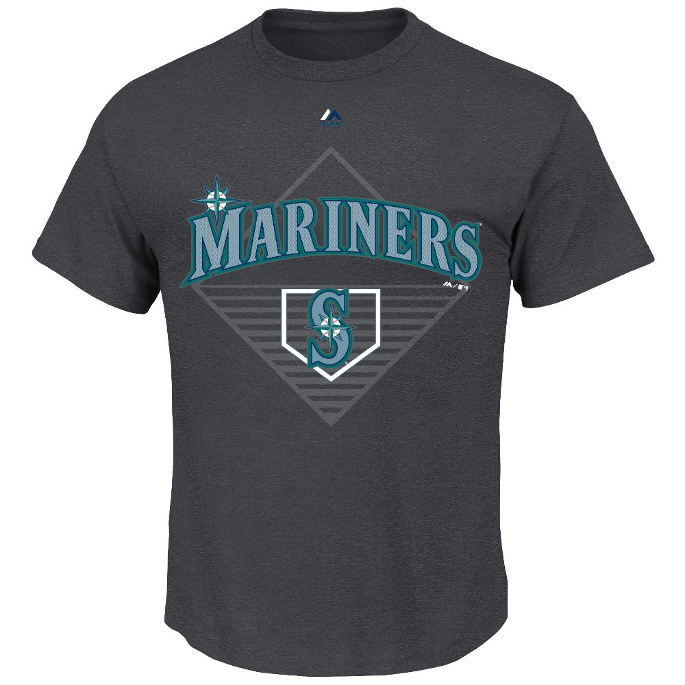 "Seattle Mariners Majestic MLB ""Winner"" Short Sleeve Men's Charcoal T-Shirt"