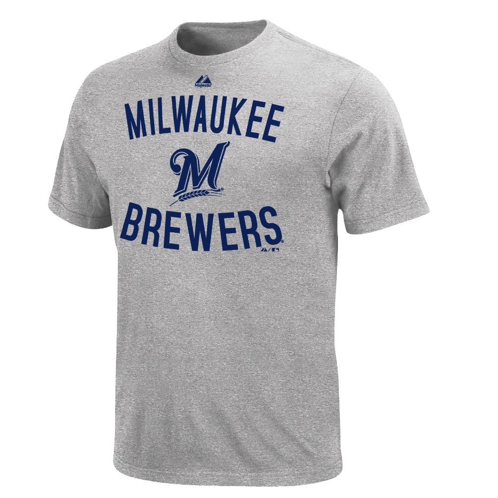 Milwaukee Brewers Majestic MLB Authentic Edge Gray T-Shirt