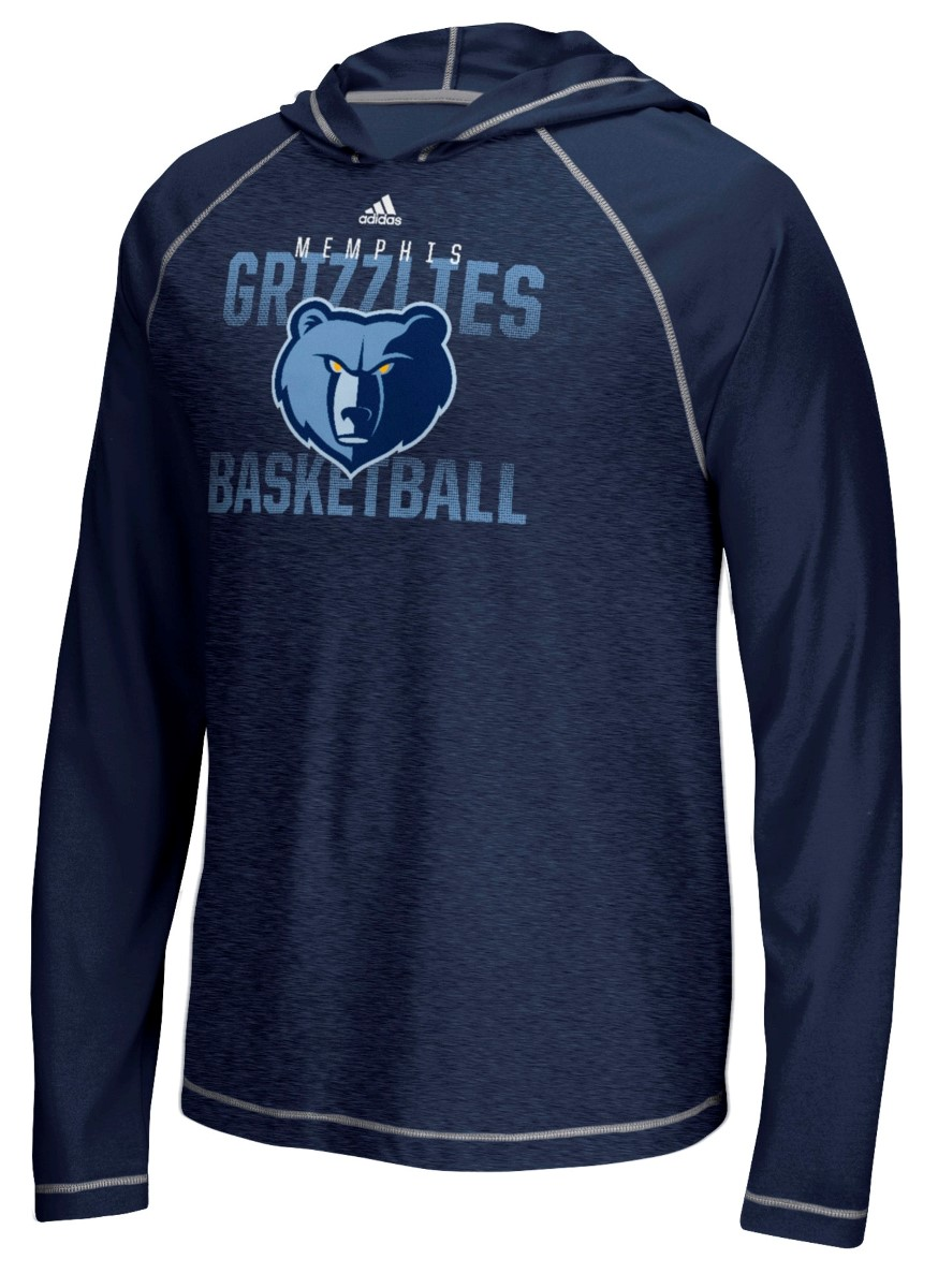 "Memphis Grizzlies Adidas NBA ""Fade Away"" Men's Climalite Hooded L/S Shirt"