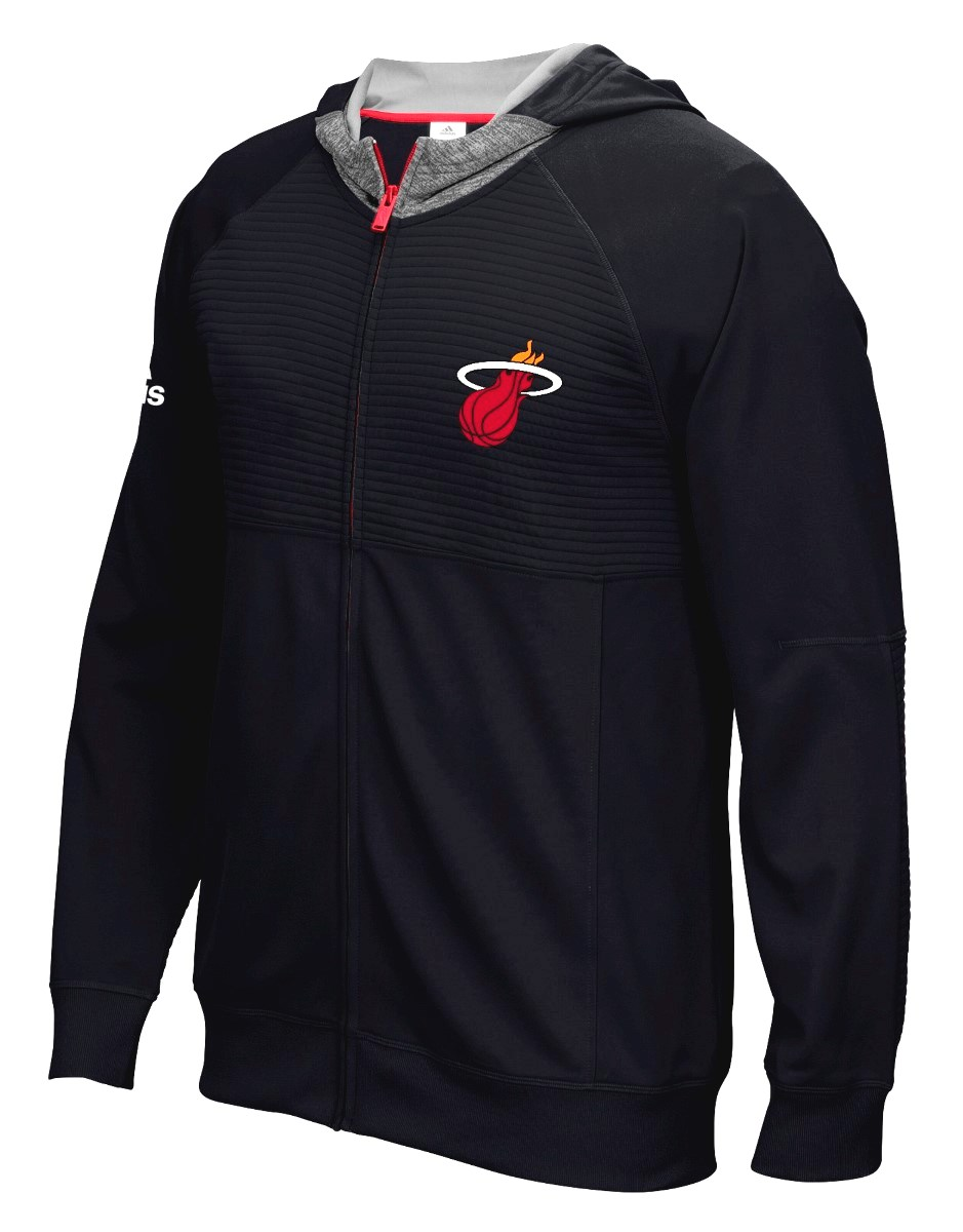"Miami Heat Adidas 2016 NBA Men's On-Court ""Pre-Game"" Full Zip Hooded Jacket"