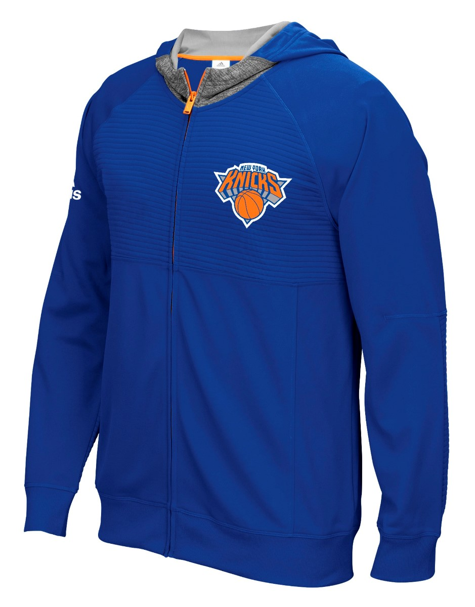 "New York Knicks Adidas 2016 NBA Men's On-Court ""Pre-Game"" Full Zip Hooded Jacket"