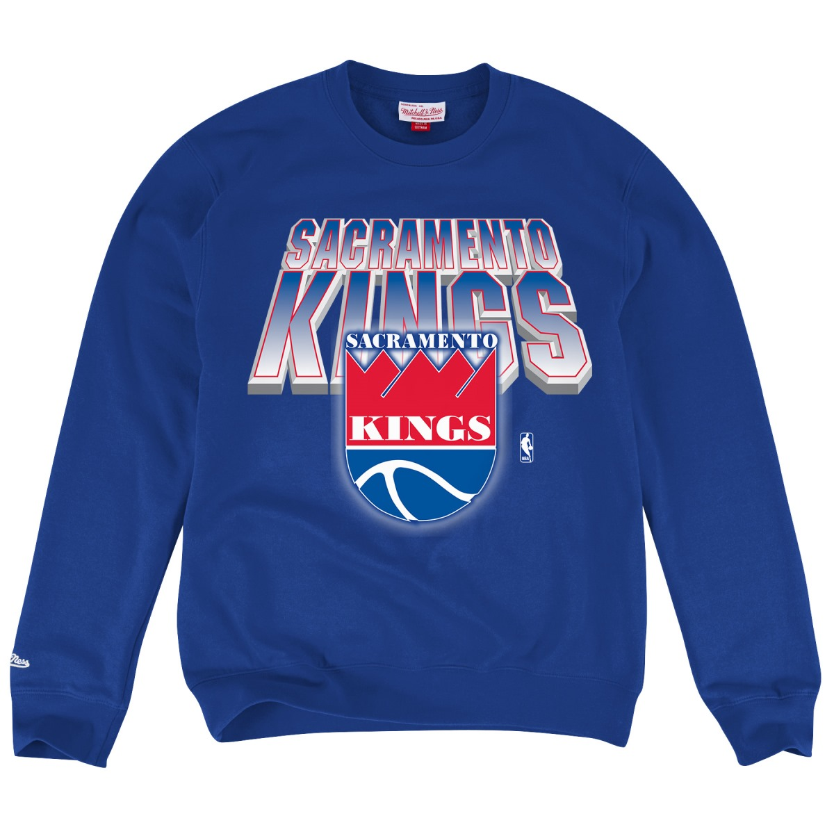 "Sacramento Kings Mitchell & Ness NBA ""Block & Blur"" Crew Sweatshirt - Blue"