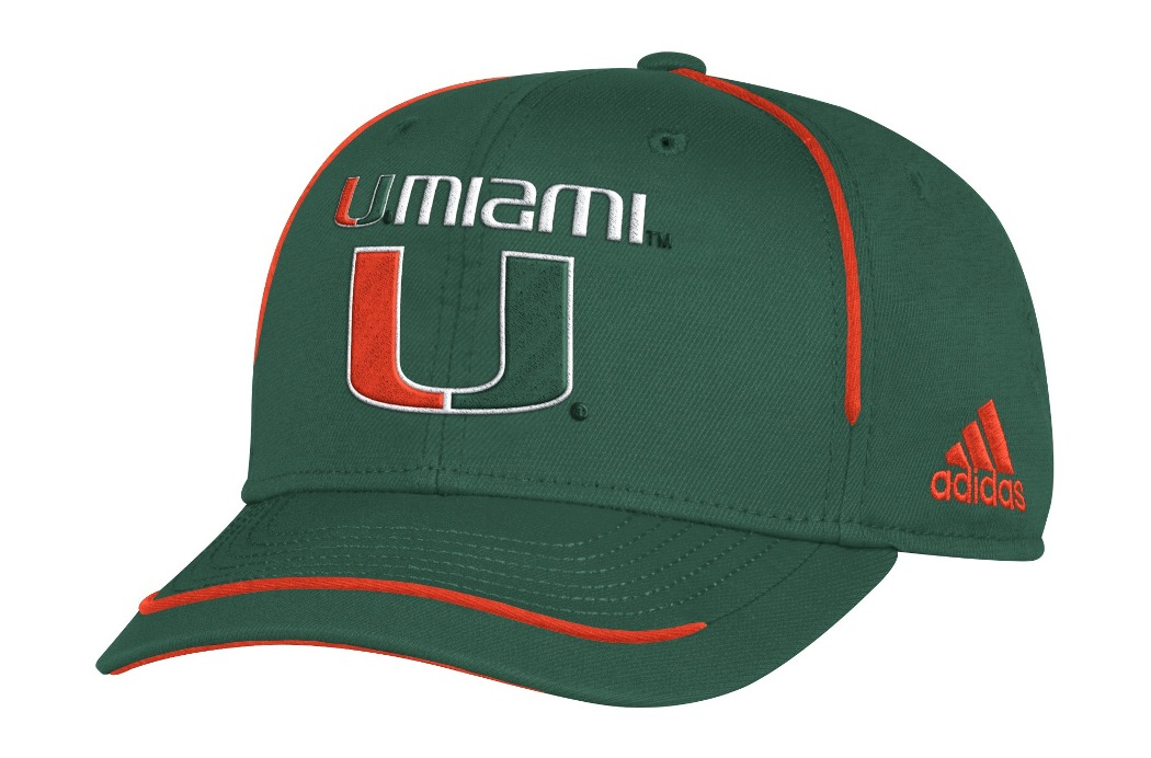 "Miami Hurricanes Adidas NCAA ""Fan Gear"" Structured Adjustable Hat"