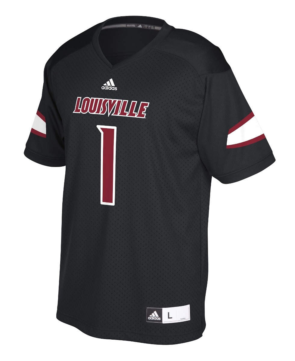 Louisville Cardinals Adidas NCAA Men's #1 Replica Football Jersey - Black