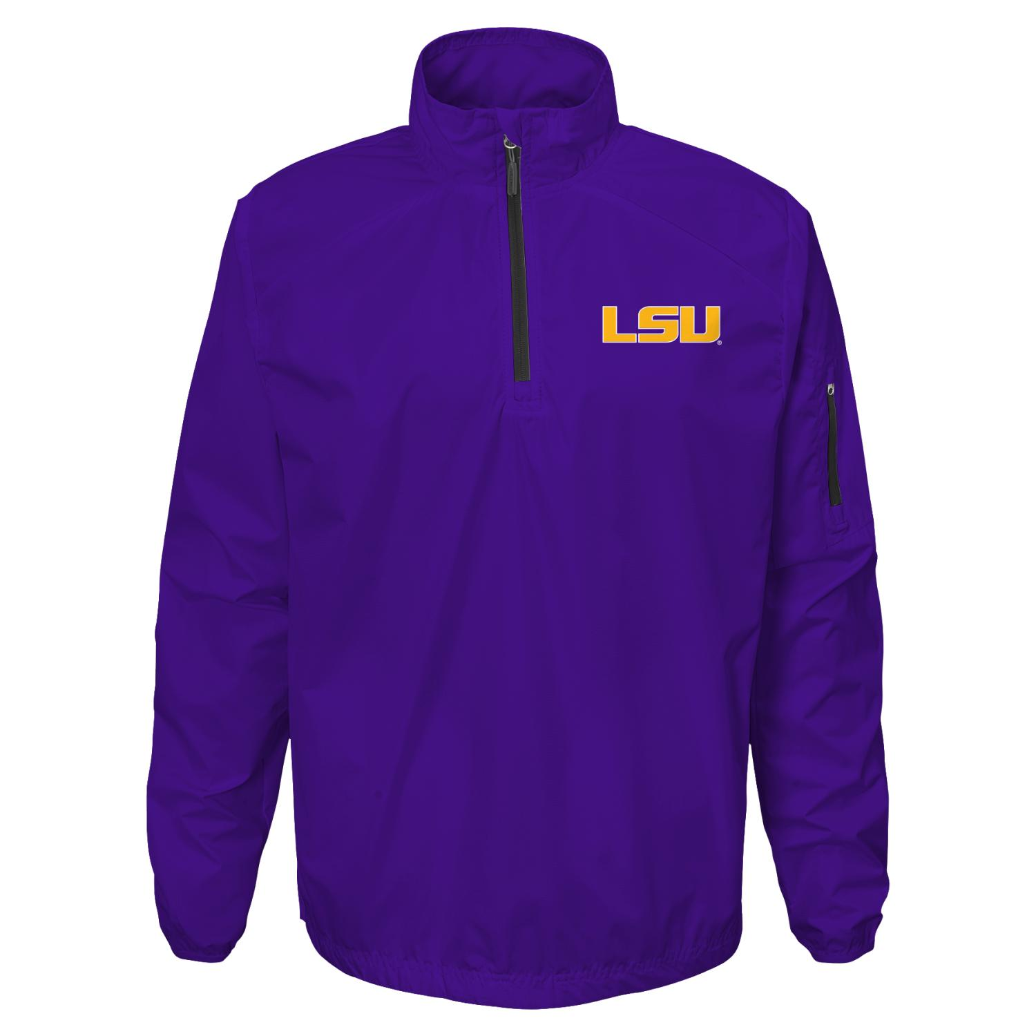 "LSU Tigers NCAA ""Apex"" Men's 1/4 Zip Pullover Performance Jacket"