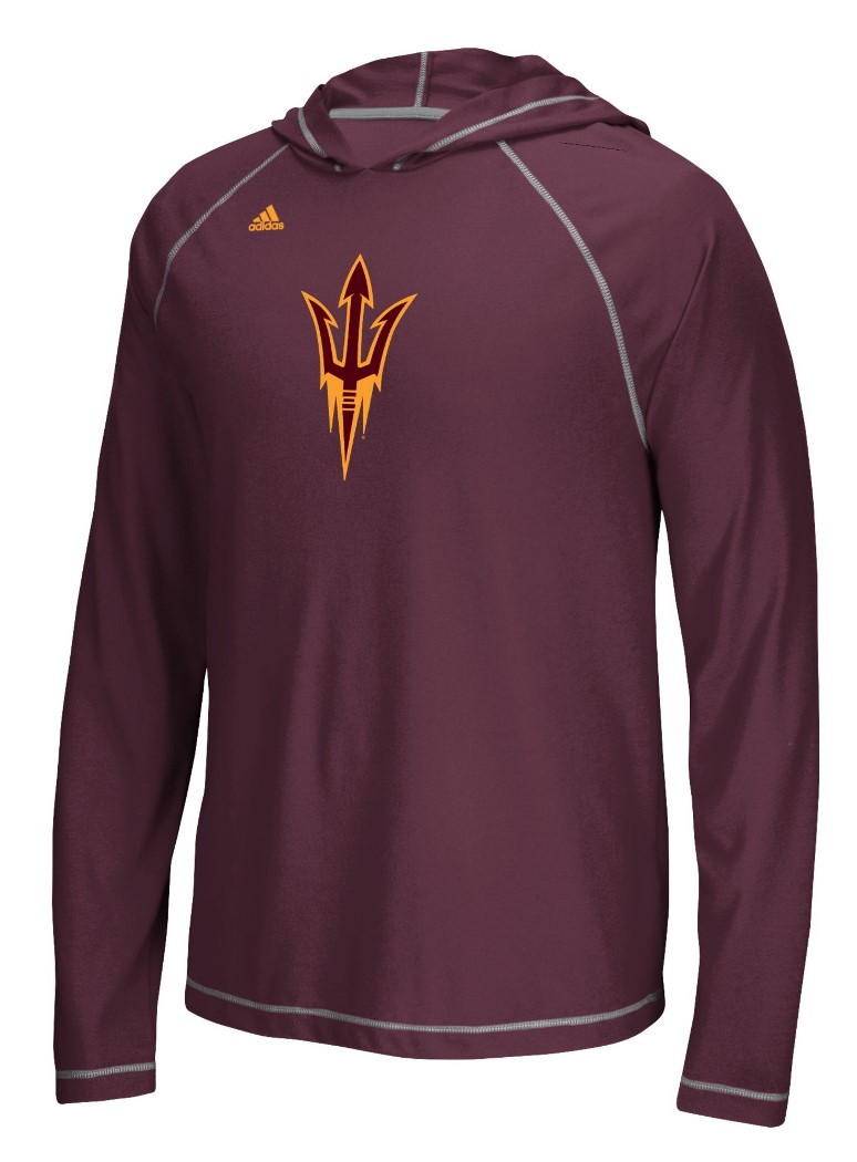 "Arizona State Sun Devils Adidas NCAA ""School"" Men's L/S Hooded Climalite Shirt"