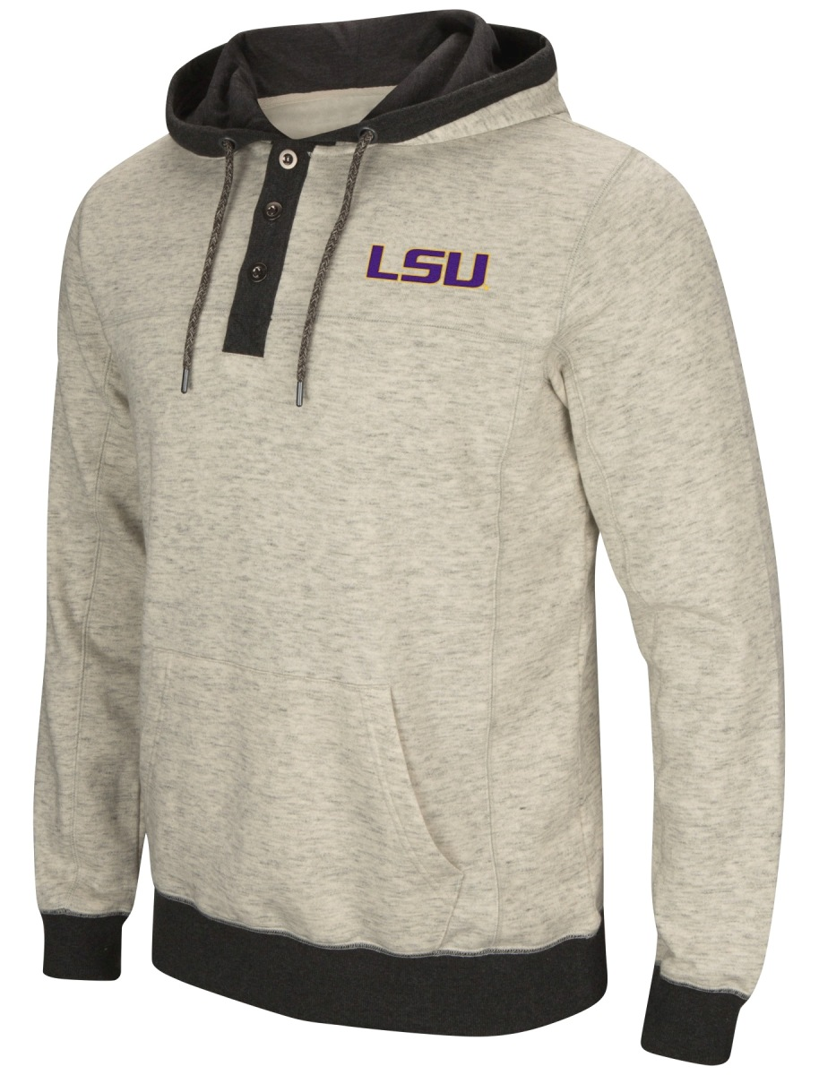 "LSU Tigers Men's NCAA ""Bolton"" Hooded Henley Sweatshirt"