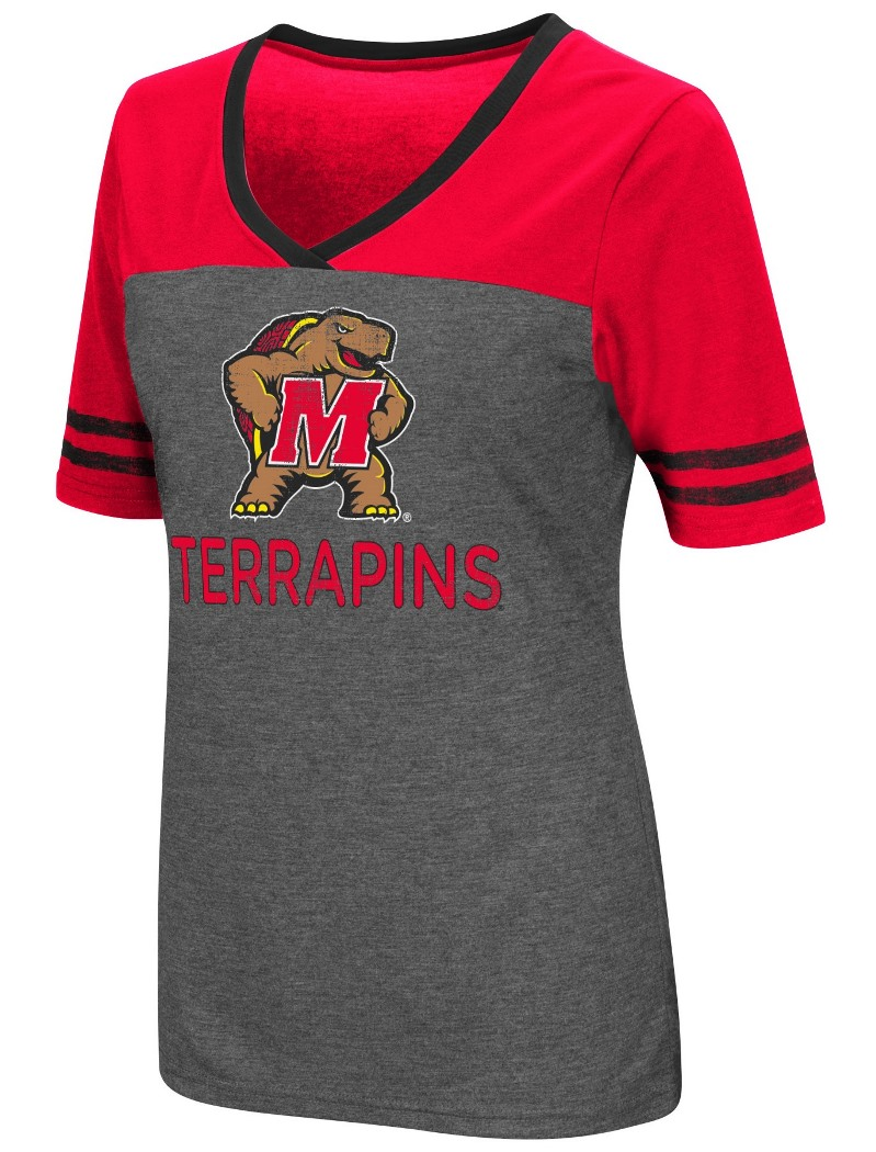 "Maryland Terrapins Women's NCAA ""McTwist"" Dual Blend V-neck T-Shirt"