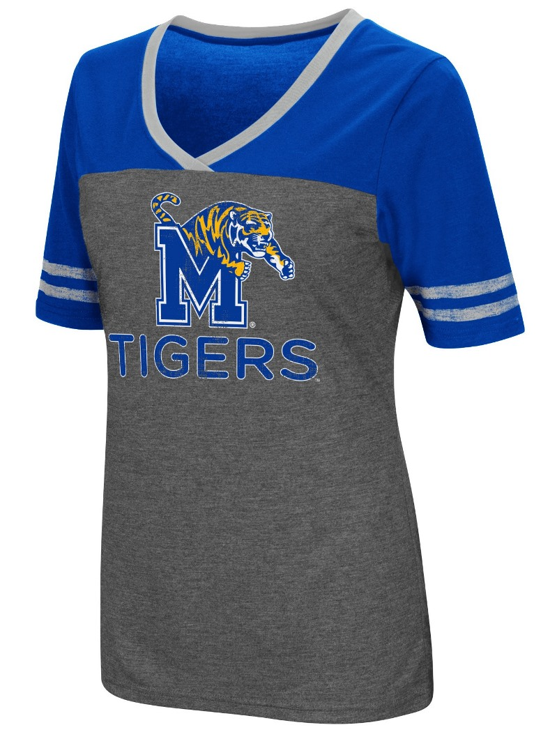 "Memphis Tigers Women's NCAA ""McTwist"" Dual Blend V-neck T-Shirt"