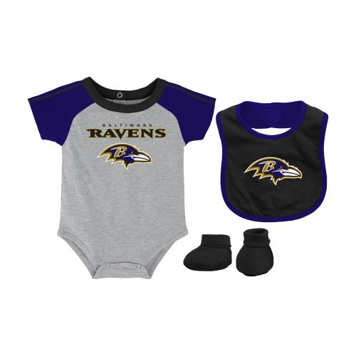 Baltimore Ravens Infant NFL 3 Piece Creeper Bib Bootie Set