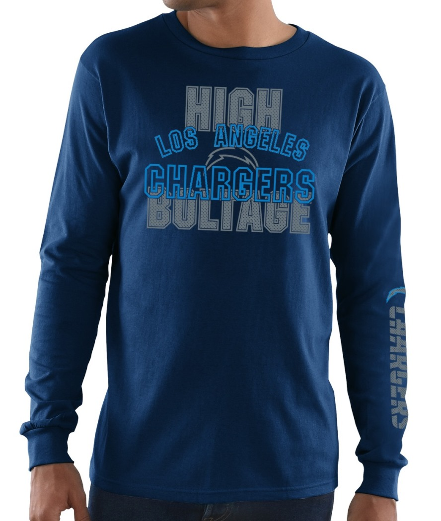 Los Angeles Chargers Majestic NFL Primary Receiver 3 Men's Long Sleeve T-Shirt