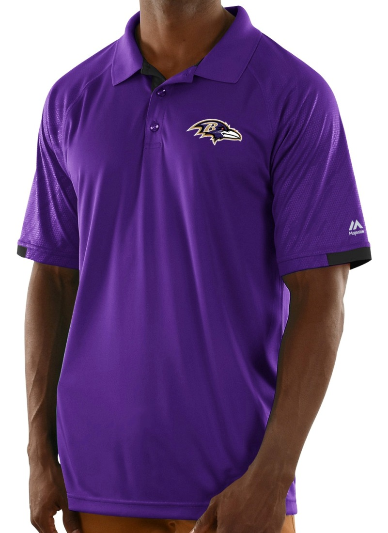 "Baltimore Ravens Majestic NFL ""Club Level"" Men's Short Sleeve Polo Shirt"