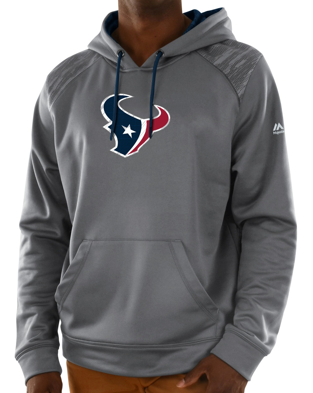 "Houston Texans Majestic NFL ""Armor 3"" Men's Pullover Hooded Sweatshirt - Gray"