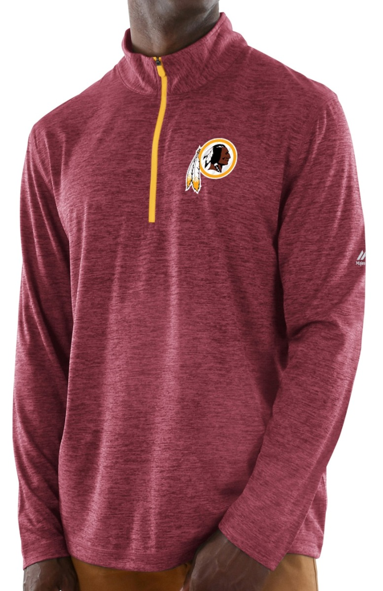 "Washington Redskins Majestic NFL ""Play to Win"" 1/2 Zip Mock Neck Pullover Shirt"