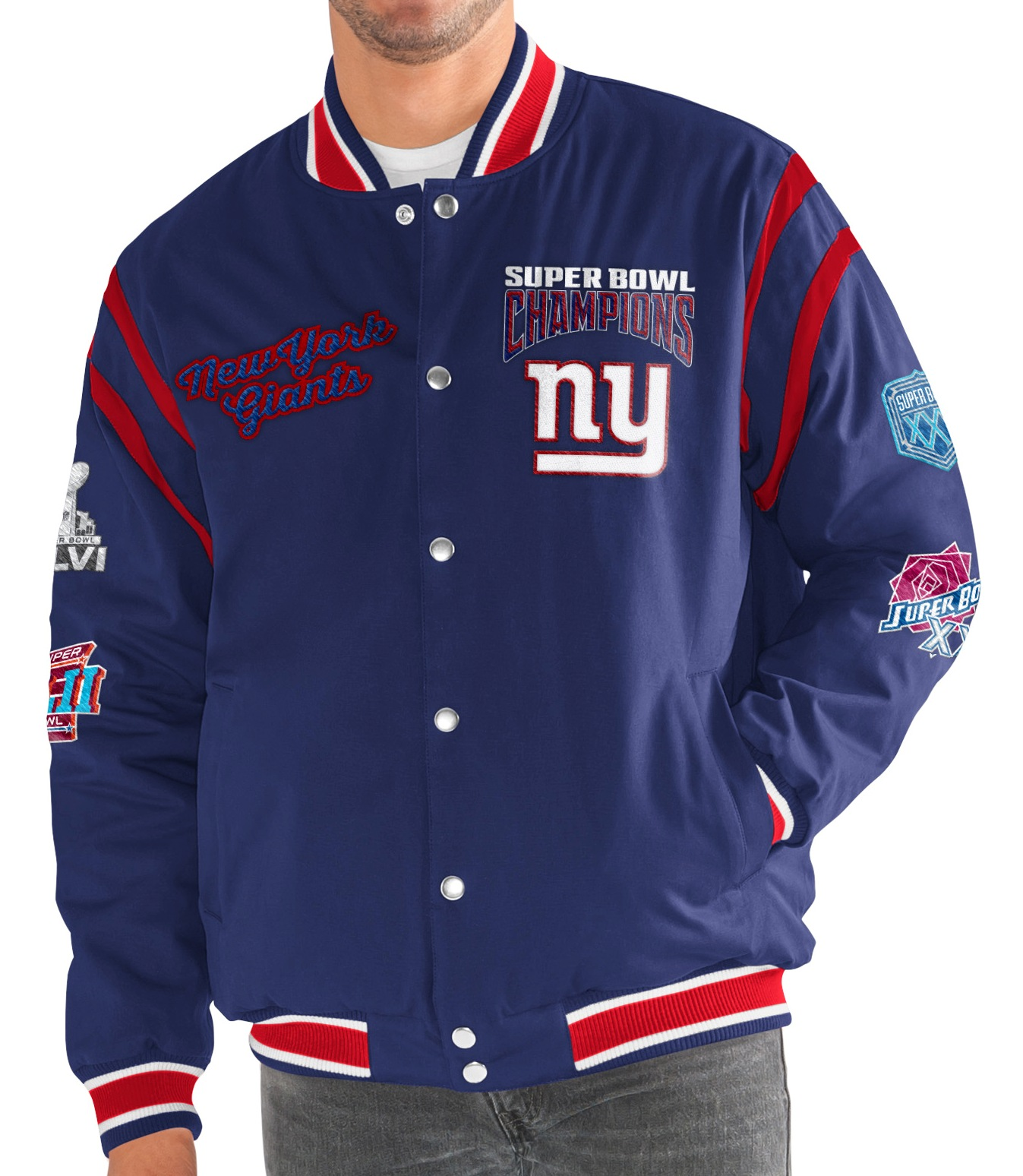 "New York Giants G-III NFL ""All Time"" Men's Commemorative Varsity Jacket"