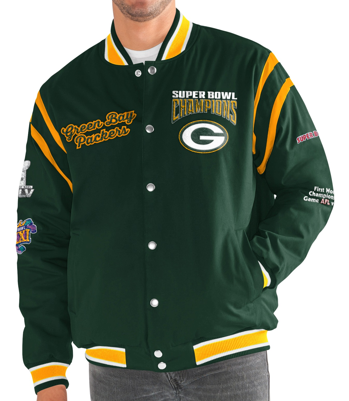 "Green Bay Packers G-III NFL ""All Time"" Men's Commemorative Varsity Jacket"