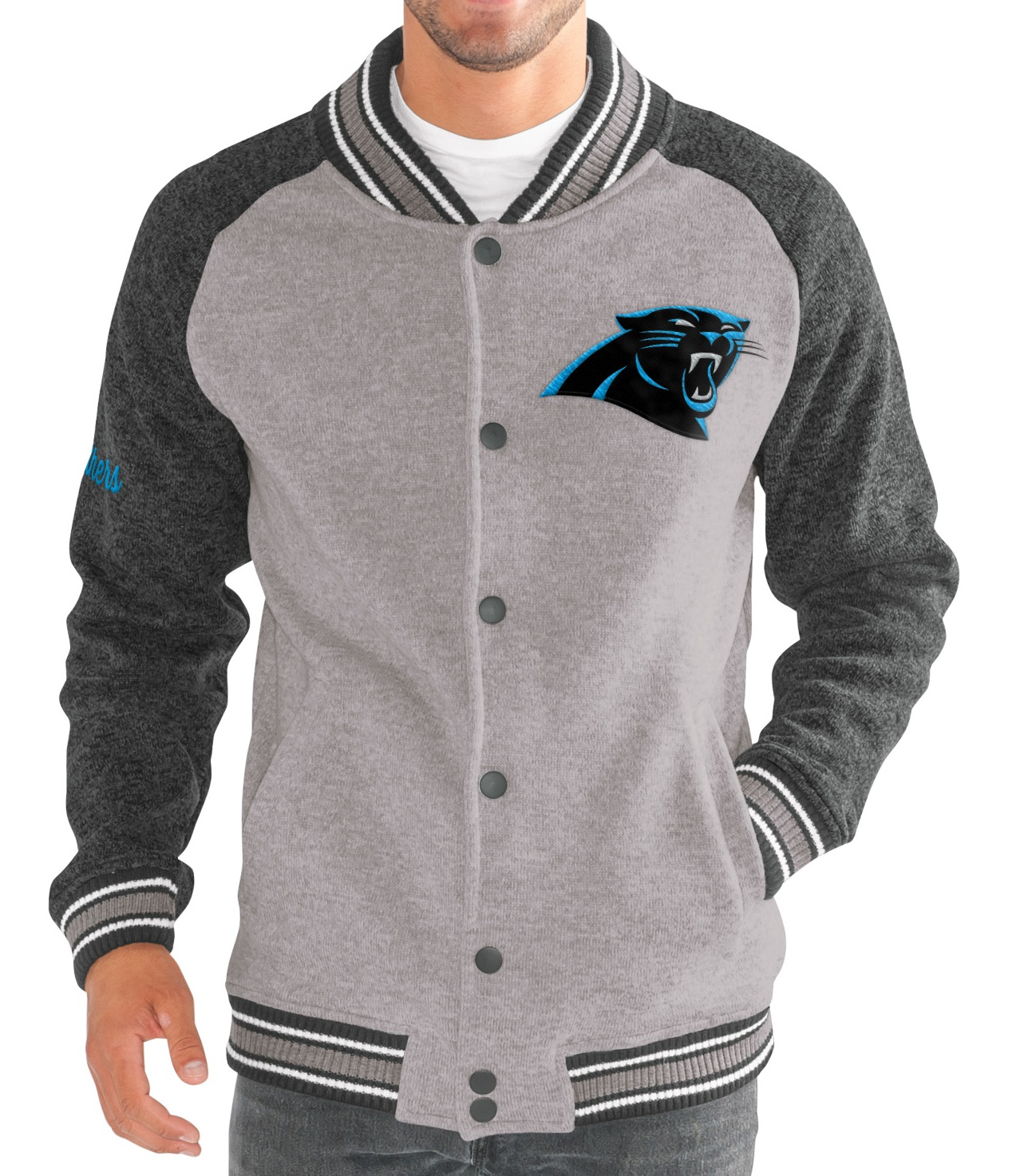 "Carolina Panthers G-III NFL ""The Ace"" Men's Premium Sweater Varsity Jacket"