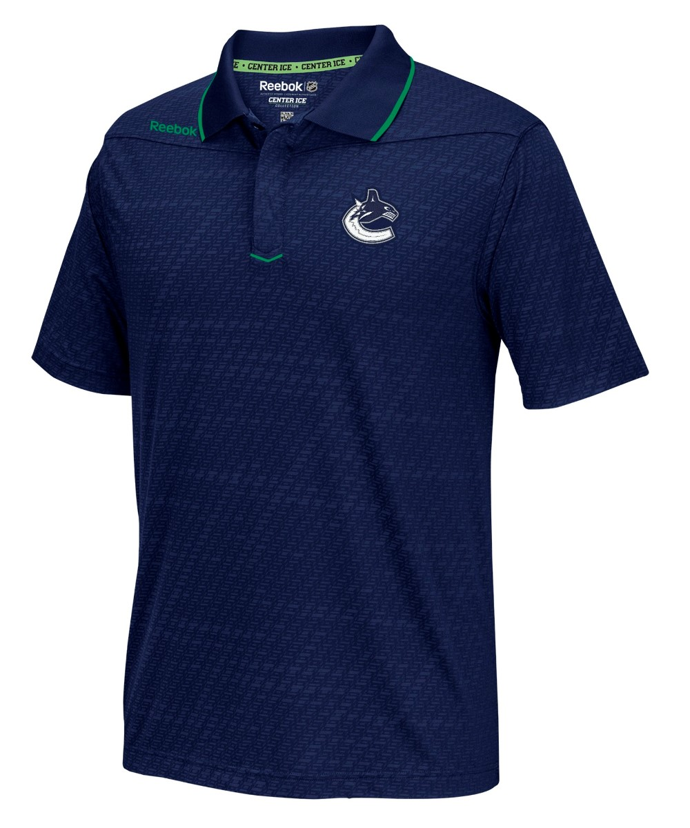 "Vancouver Canucks Reebok NHL 2016 Center Ice ""Travel"" Speedwick Polo Shirt"