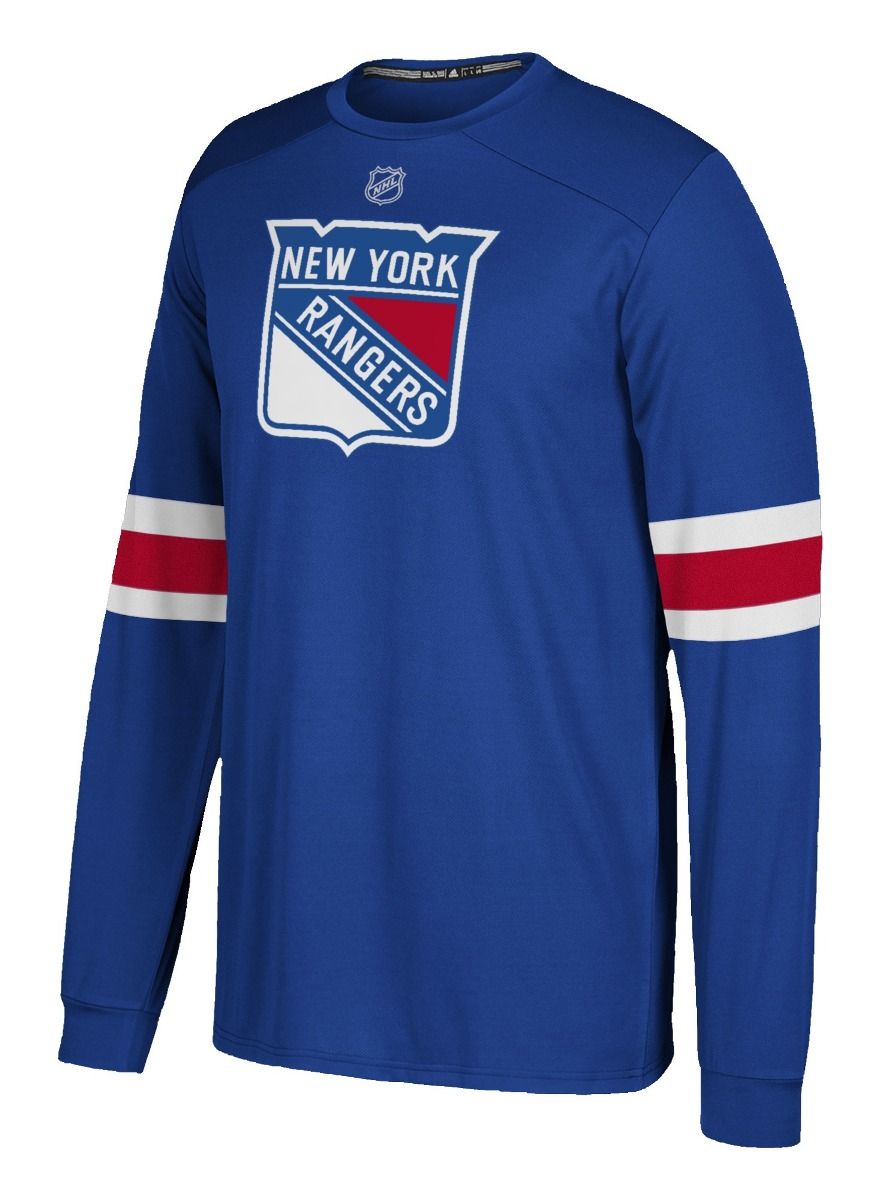 "New York Rangers Adidas NHL ""Silver"" Men's Long Sleeve Jersey Shirt"