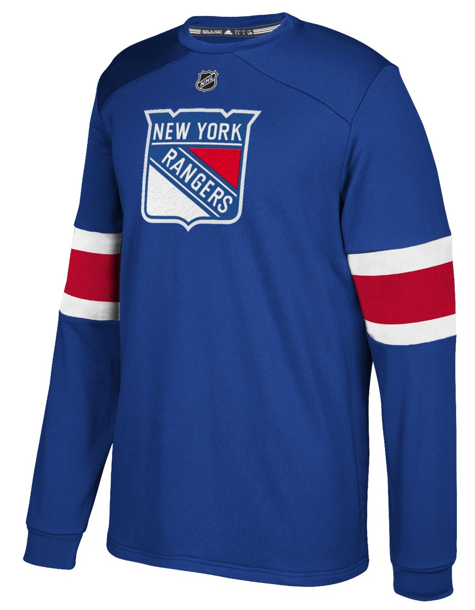 "New York Rangers Adidas NHL ""Platinum"" Men's Long Sleeve Jersey Shirt"