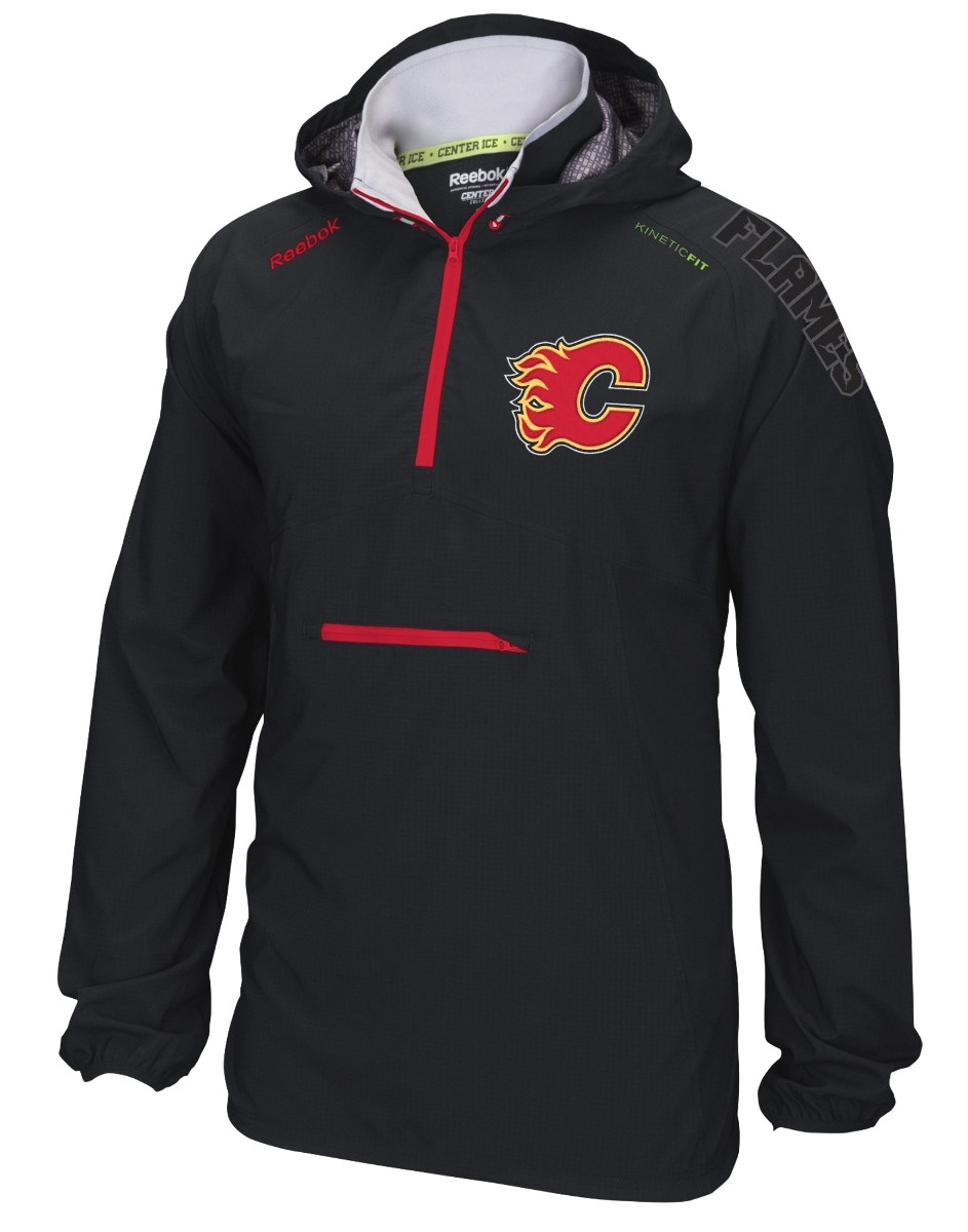 "Calgary Flames Reebok NHL 2016 Center Ice ""Anorak"" Kinetic 1/4 Zip Jacket"