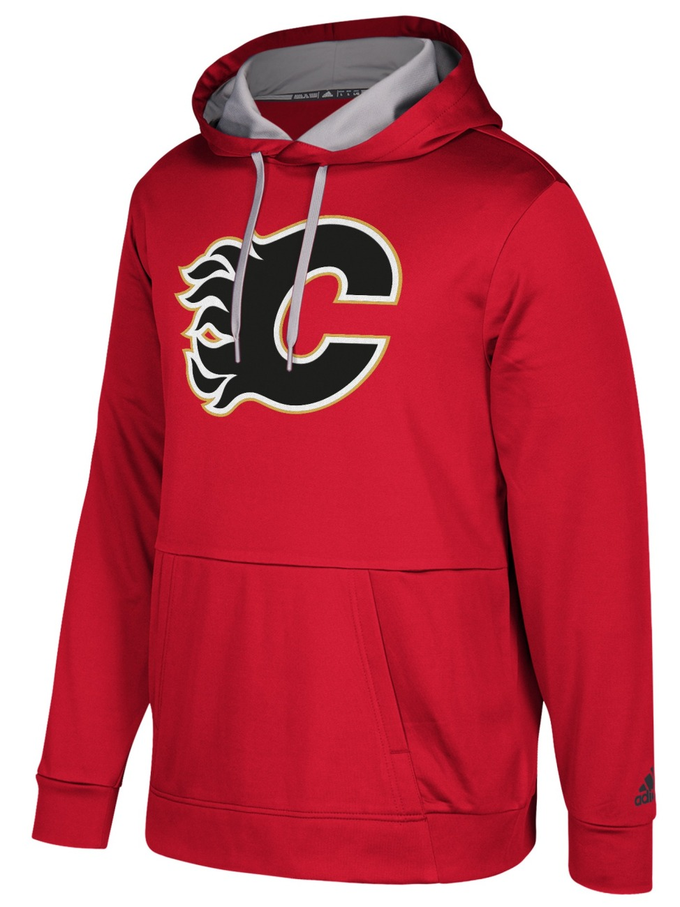 "Calgary Flames Adidas NHL Men's ""Checking"" Pullover Hooded Sweatshirt"