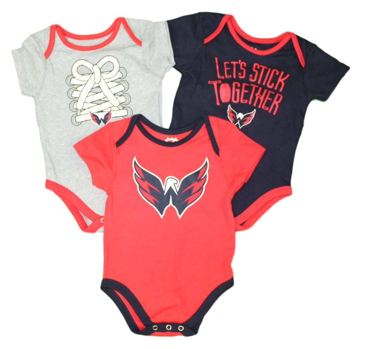 "Washington Capitals NHL ""Five on Three"" Infant 3 Pack Bodysuit Creeper Set"